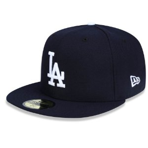 Boné Los Angeles Dodgers 5950 White on Blue Fechado - New Era