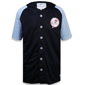 Camisa Botão New York Yankees Raglan Bicolor - New Era
