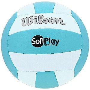 Bola de Vôlei Wilson Softplay Azul e Branco