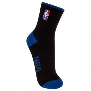 Meia NBA Logoman Cano Baixo Preta e Azul