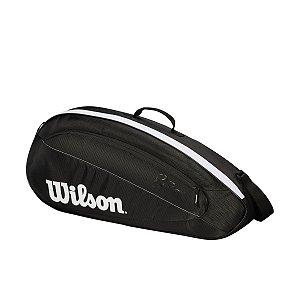 Raqueteira Wilson Esportiva Federer Team 3 Pack Preta/Branca