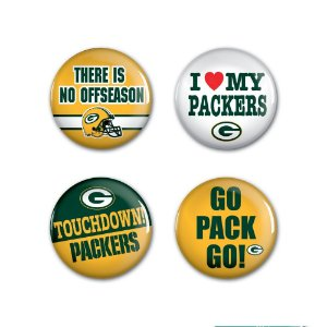4 Bottons Pins Green Bay Packers NFL