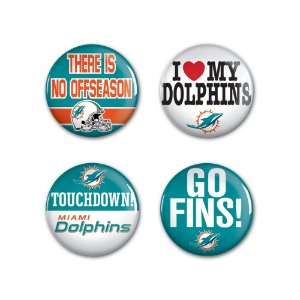 4 Bottons Pins Miami Dolphins NFL