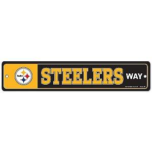 Placa Street Zone Decoração 48cm Pittsburgh Steelers