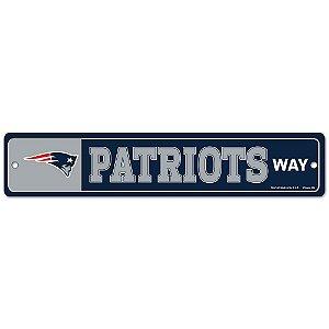 Placa Street Zone Decoração 48cm New England Patriots