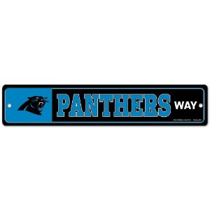 Placa Street Zone Decoração 48cm Carolina Panthers