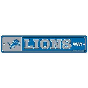 Placa Street Zone Decoração 48cm Detroit Lions