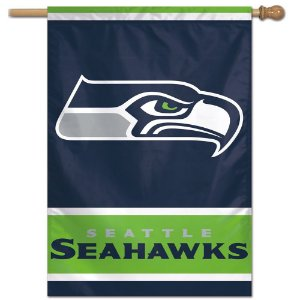 Bandeira Vertical 70x100 Logo Team Seattle Seahawks