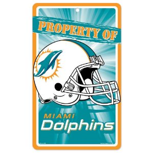 Placa Decorativa 18x30cm Miami Dolphins NFL