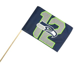 Bandeira C/ Bastão 45x30 12FAN NFL Seattle Seahawks