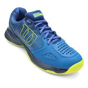 Tenis Wilson K Energy Masculino Azul e Verde Limão