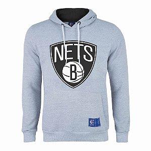 Casaco Moletom Brooklyn Nets Canguru Logo Cinza - NBA