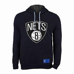 Casaco Moletom Brooklyn Nets Canguru Logo Preto - NBA