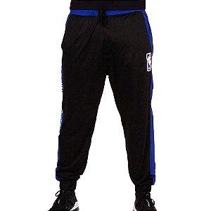 Calça Esportiva Track Sintética Preta e Azul - NBA
