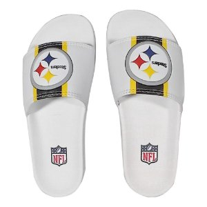 Chinelo Slide NFL Pittsburgh Steelers Branco e Amarelo