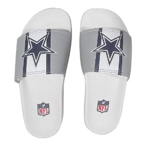 Chinelo Slide NFL Dallas Cowboys Branco e Cinza