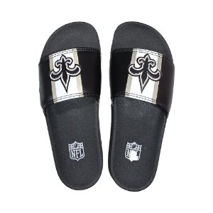 Chinelo Slide NFL New Orleans Saints Preto e Branco
