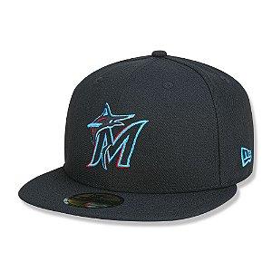 Boné Miami Marlins 5950 Game Cap Fechado Preto - New Era