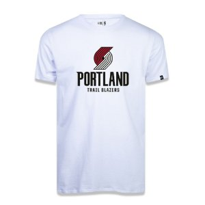 Camiseta New Era Portland Trail Blazers Basic Logo NBA Branco