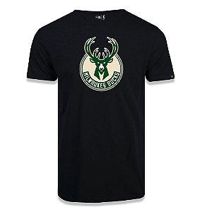 Camiseta New Era Milwaukee Bucks Basic Logo NBA Preto