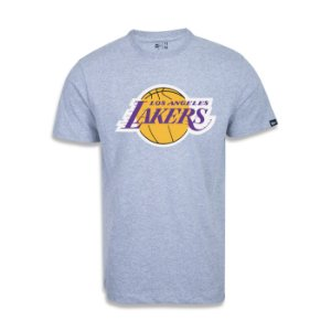 Camiseta New Era Los Angeles Lakers Basic Logo NBA Cinza