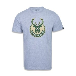 Camiseta New Era Milwaukee Bucks Basic Logo NBA Cinza