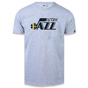 Camiseta New Era Utah Jazz Basic Logo NBA Cinza Mescla