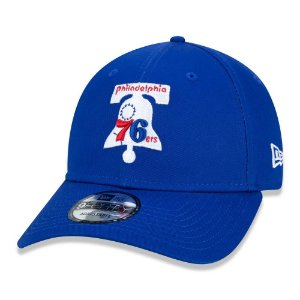Boné New Era Philadelphia 76ers 940 Old Retro Azul Aba Curva