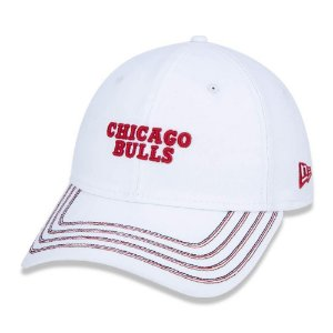 Boné New Era Chicago Bulls 920 Stripe Full Branco Aba Curva