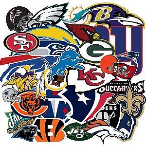 Coleção 32 Adesivos todos times NFL - Vinil Brilho 15cm