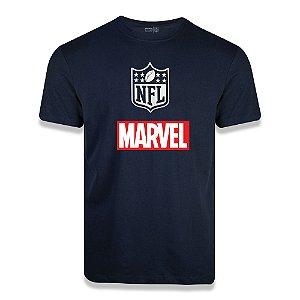 Camiseta NFL Logo Marvel Azul Marinho