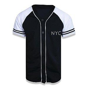 Camisa Botão Jersey New Era Core League Preto