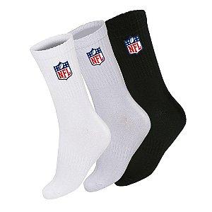 Meia Masculina Cano Longo NFL Color Pack 3 Pares Cores Lisas