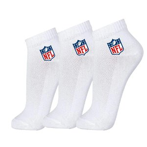 Meia Masculina Cano Curto NFL 3 Pares Branco
