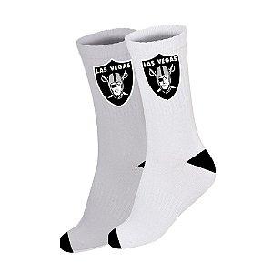 Meia Masculina Las Vegas Raiders Cano Longo NFL Branco Cinza