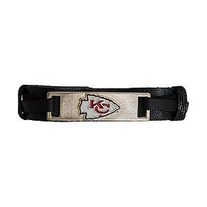 Pulseira Kansas City Chiefs NFL Preto C/ Pingente Metálico
