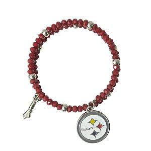 Pulseira Pittsburgh Steelers NFL Vermelho C/ Pingentes
