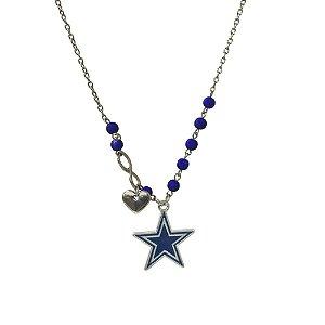 Colar Dallas Cowboys NFL Corrente C/ Pingentes Metálicos