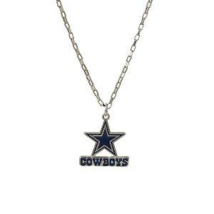 Colar Dallas Cowboys NFL Corrente C/ Pingente Metálico