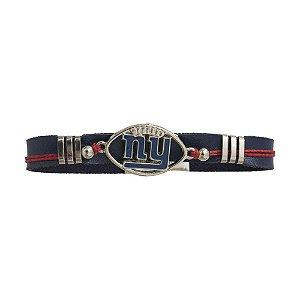 Pulseira New York Giants NFL Azul C/ Pingente Metálico