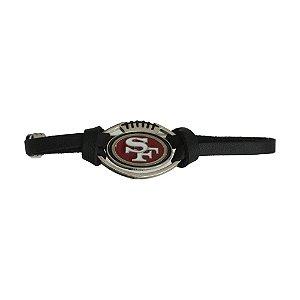 Pulseira San Francisco 49ers NFL Preto C/ Pingente Metálico