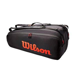 Raqueteira de Tênis Wilson Tour 6 Pack Preto/Vermelho