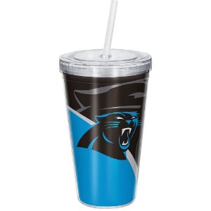 Copo Com Canudo Luxo NFL Carolina Panthers