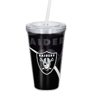 Copo Com Canudo Luxo NFL Las Vegas Raiders