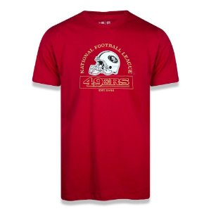 Camiseta New Era San Francisco 49ers College Helmet Vermelho