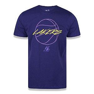 Camiseta New Era Los Angeles Lakers NBA Space Orb Roxo