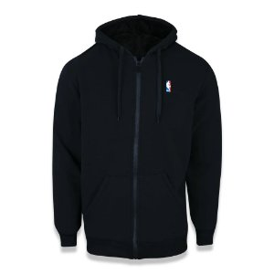 Moletom New Era NBA Logoman Fur Aberto Peluciado Preto