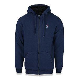 Moletom New Era NBA Logoman Fur Aberto Peluciado Azul