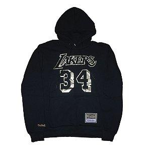 Moletom Canguru M&N Los Angeles Lakers NBA Fechado Preto