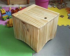 Banquinho e caixa para organizar brinquedo Banco Box Baú de Madeira